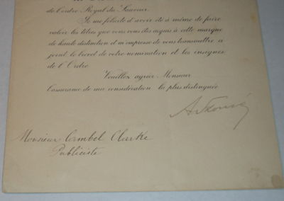 Image for A PARTIALLY PRINTED DOCUMENT SIGNED BY MINISTER FOR FOREIGN AFFAIRS ALEXANDROS SKOUZES CONFERRING, ON BEHALF OF THE KING, THE CROSS OF THE COMMANDER OF THE ROYAL ORDER OF THE REDEEMER ON BRITISH JOURNALIST CAMPBELL CLARKE.