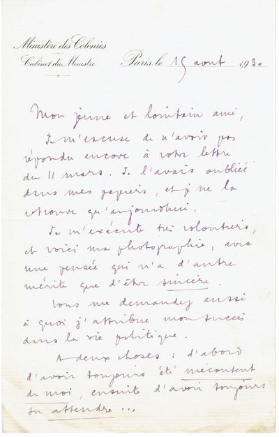 Image for LETTER SIGNED BY FRANCOIS PIETRI, MINISTER FOR COLONIAL AFFAIRS IN THE THIRD FRENCH REPUBLIC, SENDING A YOUNG CORRESPONDENT HIS PHOTOGRAPH.