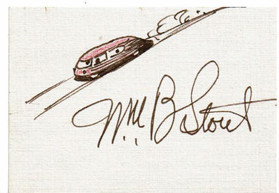 "Image for AUTOGRAPH of the aviation and automotive pioneer WILLIAM BUSHNELL STOUT penned on a card beneath an ORIGINAL PEN & INK SKETCH OF A FUTURISTIC VEHICLE, together with his ""STOOSE"" [aka ""STOUT GOOSE""] BROADSIDE and his original STOUT RESEARCH mailing envelope."
