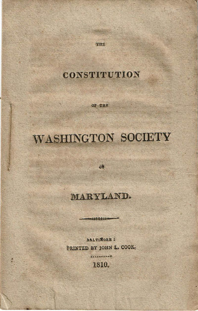 Image for THE CONSTITUTION OF THE WASHINGTON SOCIETY OF MARYLAND.