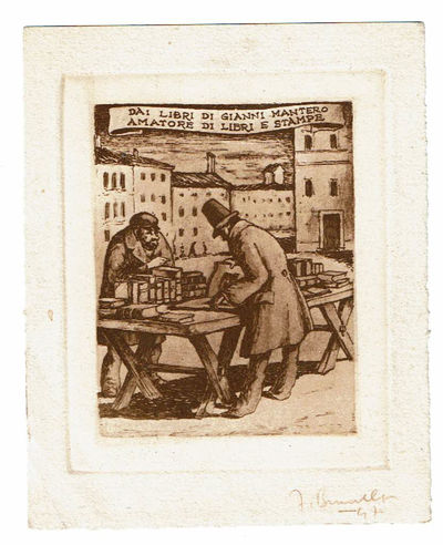 "Image for ORIGINAL ENGRAVING for a bookplate ENTITLED ""DAI LIBRI DI GIANNI MANTERO AMATORE DI LIBRI E STAMPE"", SIGNED by the artist FRANCO BRUNELLO."