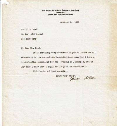 Image for TYPED LETTER SIGNED by the influential German-American philosopher FELIX ADLER in reply to an invitation by James B. Pond to join his reception committee for Maeterlinck's first American lecture.