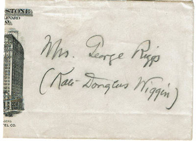 Image for ENVELOPE SIGNED BY AMERICAN EDUCATOR AND CHILDREN'S AUTHOR KATE DOUGLAS WIGGIN WITH BOTH HER MARRIED AND PROFESSIONAL NAMES.