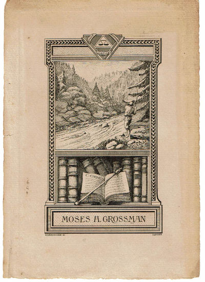 Image for ORIGINAL ETCHING by HENRI BERENGIER for MOSES H. GROSSMAN'S BOOKPLATE. (Fly Fishing in a Mountain Stream).