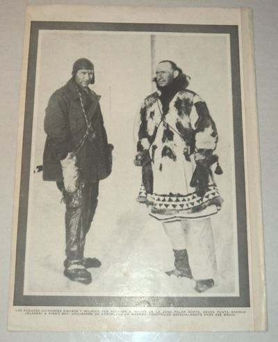 Image for A vintage magazine photographic illustration of the AMERICAN AVIATOR CARL BEN EIELSON, in whose honor Alaska's Eielson Air Force Base is named, pictured with the Polar Explorer George Hubert Wilkins.