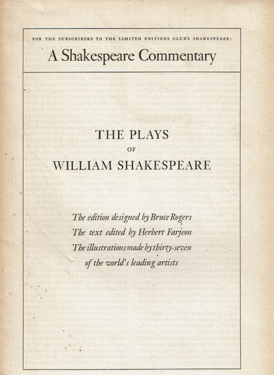 Image for THE PLAYS OF WILLIAM SHAKESPEARE: A Shakespeare Commentary for the Subscribers to the Limited Editions Club's Shakespeare.(Prospectus).