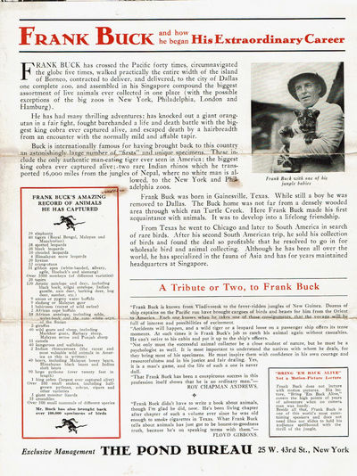 Image for JAMES B. POND PRESENTS FRANK BUCK, FAMOUS ZOOLOGICAL COLLECTOR. (Brochure).