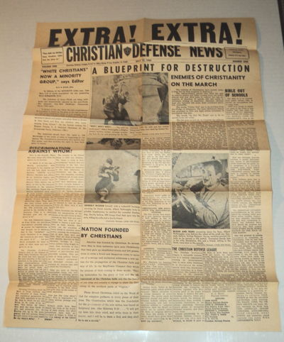 "Image for RARE 1964 WHITE SUPREMACIST ""CHRISTIAN DEFENSE NEWS"" RACIST & ANTI-SEMITIC BROADSIDE on Newspaper Stock. This Broadside, accompanied by 2 letters signed by Sherman C. Hamar, was mailed to SPYRO AGNEW, Richard Nixon's future Vice-President who was then running for the office of Governor of Maryland."