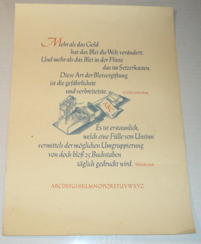 Image for TYPOGRAPHY BROADSIDE with QUOTATIONS from LICHTENBERG and WILHELM JUNK printed in WARREN CHAPPEL'S TRAJANUS KURSIV font.