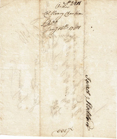 Image for AUTOGRAPH DOCUMENT SIGNED: AN ORIGINAL REVOLUTIONARY WAR PAY ORDER requesting that COL. HENRY CHAMPION be paid the sum of 200 pounds, SIGNED by Connecticut Treasurer JOHN LAWRENCE as well as by 2 committee members and endorsed by Israel Stoddard.