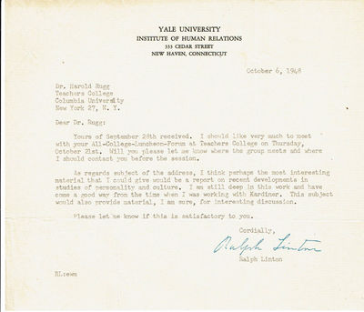 Image for TYPED LETTER TO EDUCATOR HAROLD RUGG SIGNED BY RESPECTED AMERICAN ANTHROPOLOGIST RALPH LINTON.