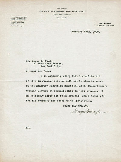 Image for TYPED LETTER SIGNED by the director of the Lackawanna Steel Company GEORGE WILLIAM BURLEIGH regretting that he won't be able to serve on the Honorary Reception Committee for Maurice Maeterlinck.