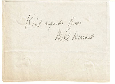 Image for AUTOGRAPH of the American Historian & Philosopher WILLIAM DURANT, SIGNED with his SENTIMENTS.