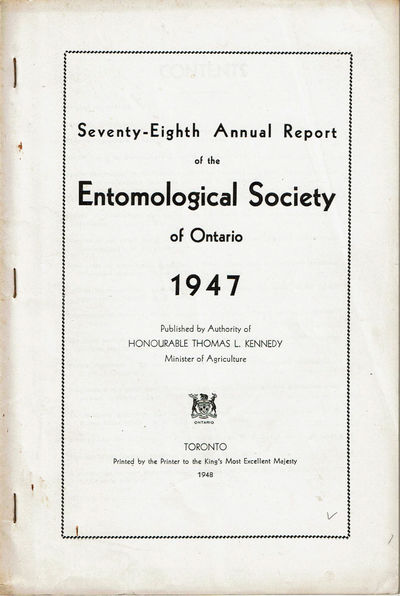 Image for SEVENTY-EIGHTH ANNUAL REPORT OF THE ENTOMOLOGICAL SOCIETY OF  ONTARIO 1947. (Cover title).