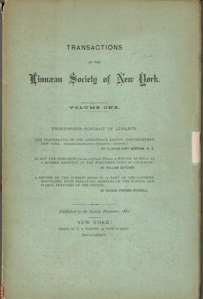 Image for TRANSACTIONS OF THE LINNAEAN SOCIETY OF NEW YORK. Volume One.