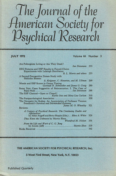 Image for THE JOURNAL OF THE AMERICAN SOCIETY FOR PSYCHICAL RESEARCH. July 1972, Volume 66, Number 3.