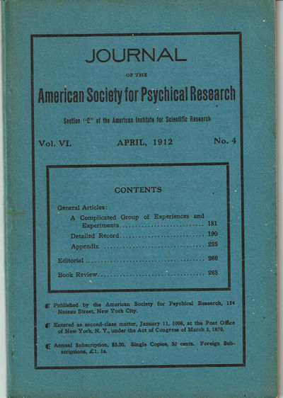 Image for JOURNAL OF THE AMERICAN SOCIETY FOR PSYCHICAL RESEARCH. Volume VI. No. 4. April, 1912.
