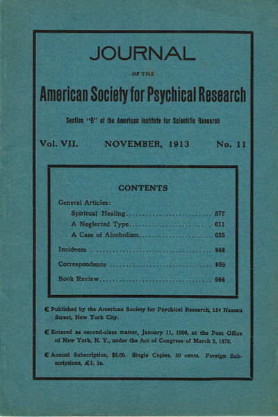 Image for JOURNAL OF THE AMERICAN SOCIETY FOR PSYCHICAL RESEARCH. Volume VII. No. 11. November, 1913.