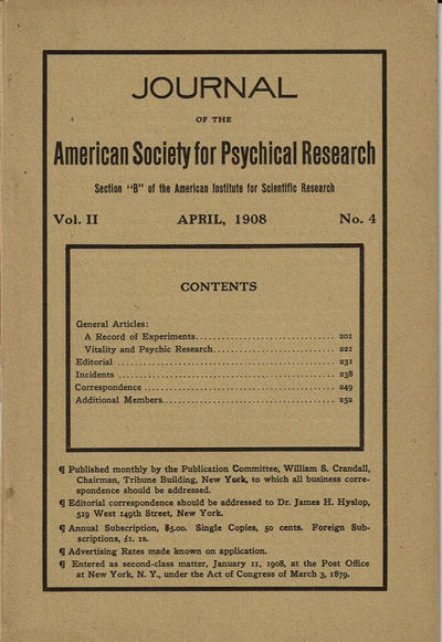 Image for JOURNAL OF THE AMERICAN SOCIETY FOR PSYCHICAL RESEARCH. Volume II. No. 4. April, 1908.