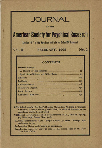 Image for JOURNAL OF THE AMERICAN SOCIETY FOR PSYCHICAL RESEARCH. Volume II. No. 2. February, 1908.
