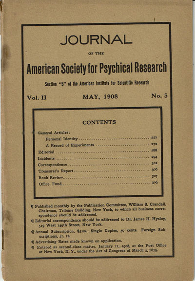 Image for JOURNAL OF THE AMERICAN SOCIETY FOR PSYCHICAL RESEARCH. Volume II. No. 5. May, 1908.