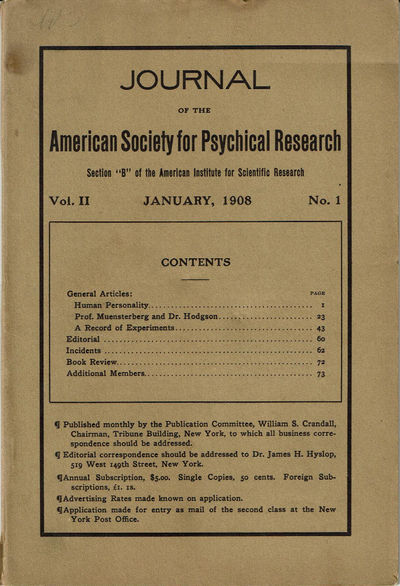 Image for JOURNAL OF THE AMERICAN SOCIETY FOR PSYCHICAL RESEARCH. Volume II. No. 1. January, 1908.