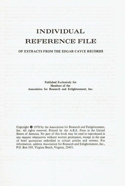 Image for INDIVIDUAL REFERENCE FILE OF EXTRACTS FROM THE EDGAR CAYCE RECORDS.