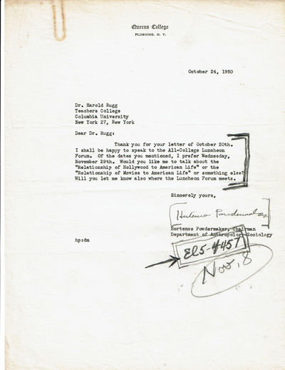 Image for TYPED LETTER TO EDUCATOR HAROLD RUGG SIGNED BY AMERICAN ANTHROPOLOGIST HORTENSE POWDERMAKER, BEST KNOWN FOR HER ETHNOGRAPHIC STUDIES OF RURAL AFRICAN AMERICANS AND OF HOLLYWOOD.