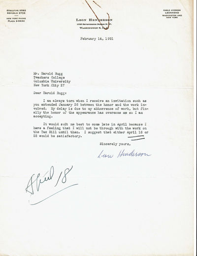 Image for TYPED LETTER TO EDUCATOR HAROLD RUGG SIGNED BY LEON HENDERSON, FORMER ADMINISTRATOR OF THE U.S. OFFICE OF PRICE ADMINISTRATION.