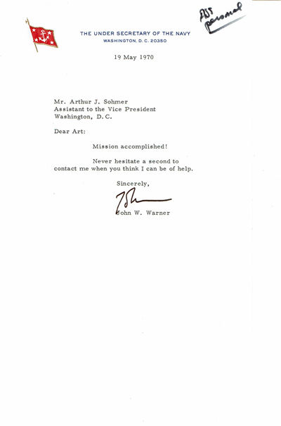 Image for TYPED LETTER TO VICE PRESIDENT AGNEW'S ASSISTANT SIGNED BY THE UNDER SECRETARY OF THE NAVY JOHN W. WARNER.