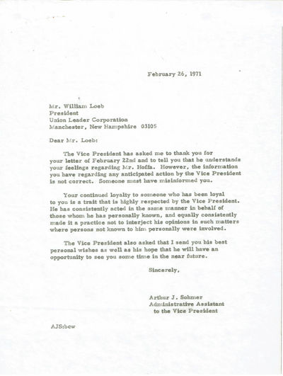 Image for A 2-PAGE TYPED LETTER SIGNED by the ultra conservative publisher of the Manchester Union Leader newspaper WILLIAM LOEB, seeking VICE-PRESIDENT SPIRO AGNEW'S support for getting early release granted to JIMMY HOFFA.