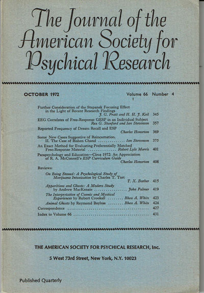 Image for THE JOURNAL OF THE AMERICAN SOCIETY FOR PSYCHICAL RESEARCH. Volume 66, Number 4. October 1972.