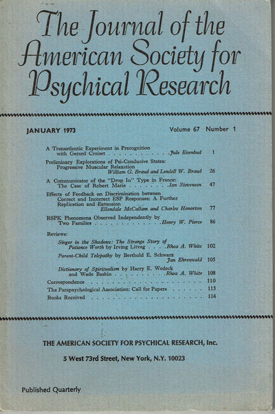 Image for THE JOURNAL OF THE AMERICAN SOCIETY FOR PSYCHICAL RESEARCH. Volume 67, Number 1. January 1973.