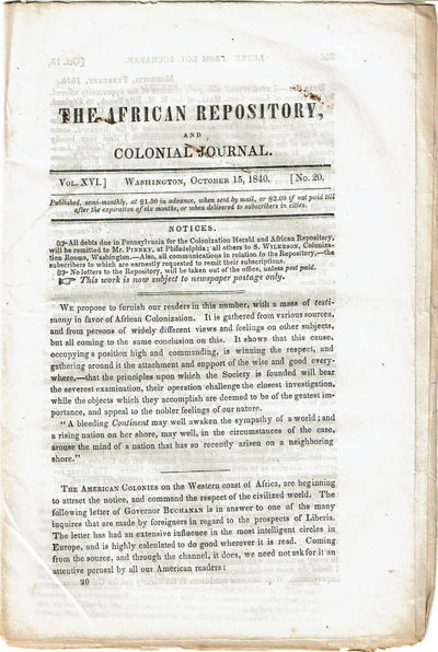 Image for THE AFRICAN REPOSITORY, AND COLONIAL JOURNAL. Vol. XVI. No. 20.