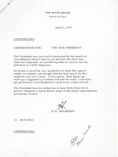 "Image for TYPED MEMORANDUM LETTER SIGNED ""H"" by Richard Nixon's Chief of Staff H.R. HALDEMAN, to Vice President Spiro Agnew, suggesting he distribute journalist Tom Shepard's speech on the environment."
