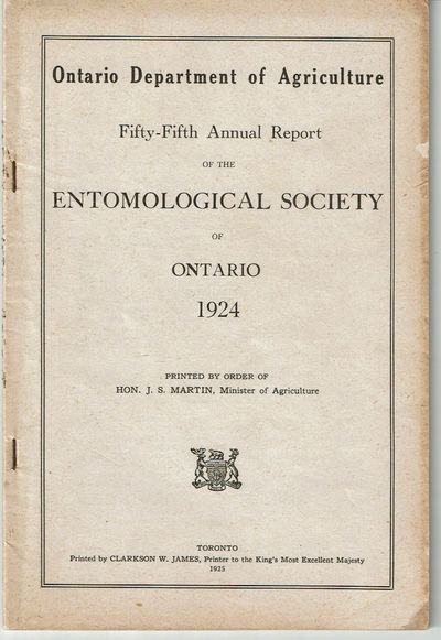 Image for FIFTY-FIFTH ANNUAL REPORT OF THE ENTOMOLOGICAL SOCIETY OF ONTARIO 1924. Ontario Department of Agriculture.