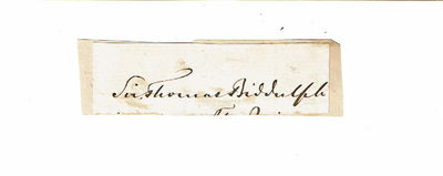 Image for AUTOGRAPH. Signature of the British army officer THOMAS MYDDELTON BIDDULPH penned on a slip of paper.
