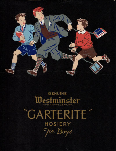 "Image for ORIGINAL ILLUSTRATED FASHION DESIGN FOR ""GENUINE WESTMINSTER 'GARTERITE' HOSIERY FOR BOYS"" ATTRIBUTED TO THE CHILDREN'S BOOK ILLUSTRATOR OTTILIE FOY"