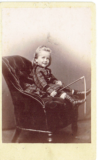 ORIGINAL CARTE DE VISITE PHOTOGRAPH BY G VOLKERLING OF A YOUNG BOY WITH RIDING CROP IDENTIFIED ON THE VERSO AS ALBERT W SPEYERS
