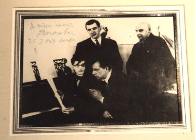 "Image for A SIGNIFICANT PHOTOGRAPH SIGNED BY SHOSTAKOVICH. A most famous photograph of this important gathering of Russian artists, each of whom contributed to the play ""The Bedbug"", inscribed and signed by the great modern Russian composer"