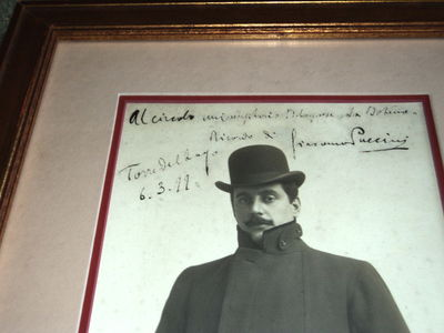 Image for PUCCINI: SUPERB LARGE INSCRIBED & SIGNED CABINET PHOTOGRAPH, SIGNED AND DATED BY THE GREAT ITALIAN OPERA COMPOSER.
