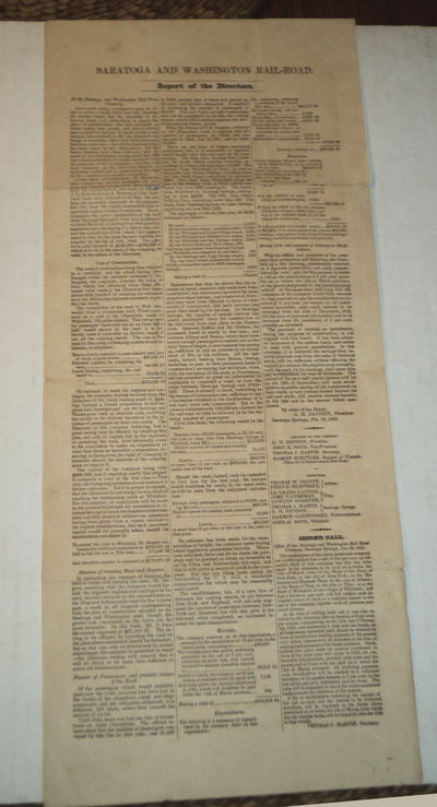 Image for SARATOGA AND WASHINGTON RAILROAD. Report of the Directors. To the Saratoga and Washington Rail Road Company