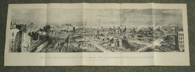 "Image for ""VIEW OF THE RUINS AFTER THE GREAT FIRE IN BOSTON, FROM A POINT OPPOSITE TRINITY CHURCH, SUMMER STREET"". A SUPERB WOOD ENGRAVED FOLDING PANORAMA FROM LESLIE'S SUPPLEMENT #901 PUBLISHED SOON AFTER THE FIRE."