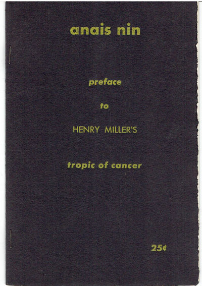 Image for PREFACE TO HENRY MILLER'S TROPIC OF CANCER.