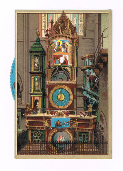 "Image for A SUPERB COLOR POSTCARD OF THE SCHWILGUE ASTRONOMICAL CLOCK IN THE STRASBOURG CATHEDRAL, WITH A WONDERFUL MOVEABLE WHEEL WHEREBY THE SAINTS CAN MOVE N A PROCESSION WITHIN THE TOP WINDOW OF THE CLOCK, ENTITLED ""L'HORLOGE ASTRONOMIQUE DE LA CATHEDRALE."""