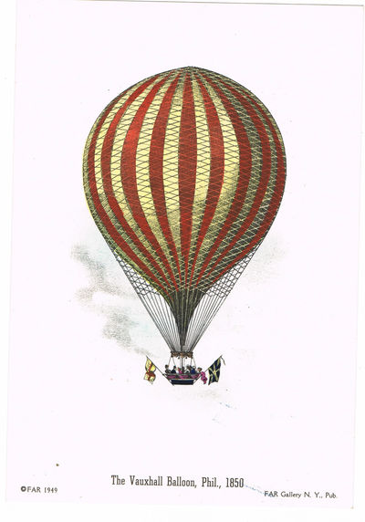"Image for [BALLOONING]: A LOT OF 4 BRIGHT HAND-COLORED LITHOGRAPHS DEPICTING NINETEENTH CENTURY BALLOONING: ""DESCENT NEAR PHILADELPHIA, PHIL., 1850""; ""THE VAUXHALL BALLOON, PHIL., 1850""; ""DESCENT NEAR EASTON, PENNSYLVANIA""; AND 'MR. COCKING'S PARACHUTE, PHIL., 1850"""
