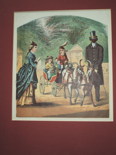 Image for [LITTLE CHARLEY'S VISIT: WHAT HE SAW IN CENTRAL PARK]. A SUPERB CHROMOLITHOGRAPH DEPICTING LITTLE CHARLEY RIDING  IN A GOAT DRAWN CARRIAGE IN NEW YORK CITY'S CENTRAL PARK.