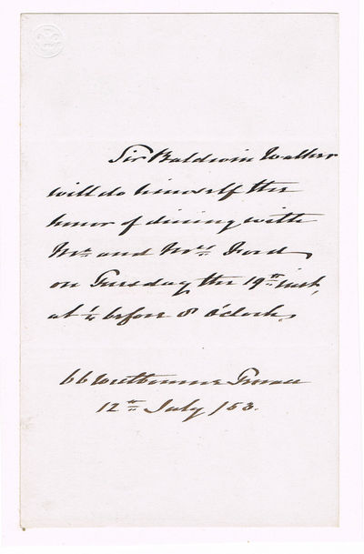 Image for AUTOGRAPH NOTE SIGNED in the text by ADMIRAL SIR BALDWIN WAKE WALKER accepting a dinner engagement.
