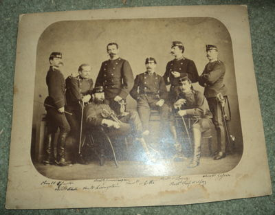 Image for A VINTAGE 19TH CENTURY PHOTOGRAPH DEPICTING A GROUP OF 8 GERMAN MILITARY OFFICERS IN FULL DRESS UNIFORM