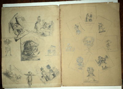 Image for 2 SHEETS OF ORIGINAL 19TH CENTURY FINISHED GRAPHITE PENCIL DRAWINGS, POSSIBLY INTENDED TO ILLUSTRATE CHILDREN'S STORIES